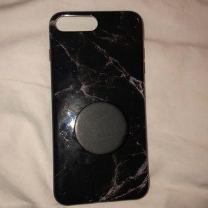 Accessories - Black marble print iPhone 7/8 plus case+ popsocket
